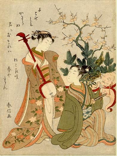 Судзуки Харунобу. Две девушки с маской и сямисэном