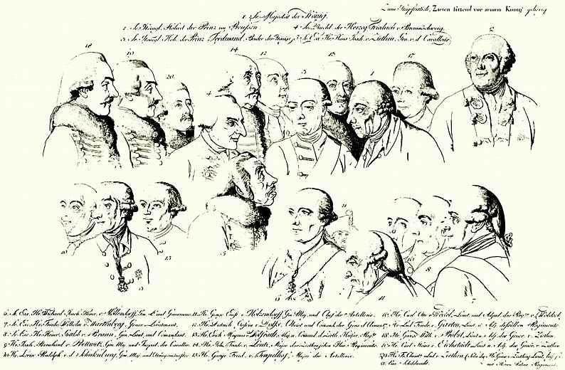 Даниэль  Николай Ходовецкий. Генерал фон Зитен, сидящий в присутствии короля Фридриха II : Лист с этюдами голов присутствующих