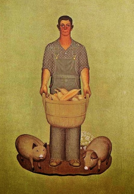 "Grant Wood. Farmer and pig. Series ""Product Of Iowa"""