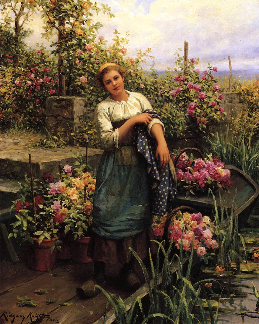 Daniel Ridgeway Knight. The girl in the garden