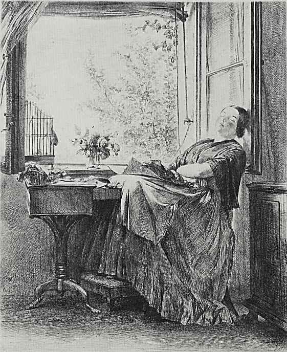 Адольф фон Менцель. Заснувшая у окна вышивальщица