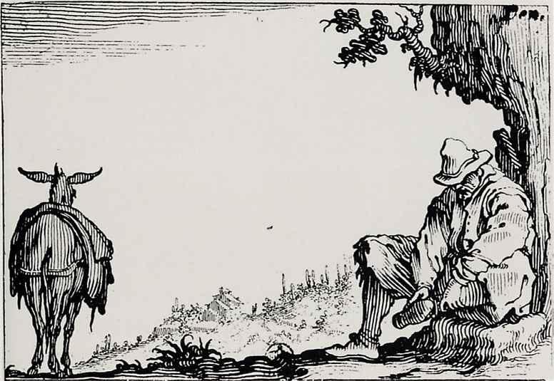 Жак Калло. Крестьянин, снимающий башмак