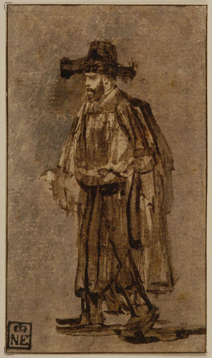 Rembrandt Harmenszoon van Rijn. Bearded Man Walking to the Left