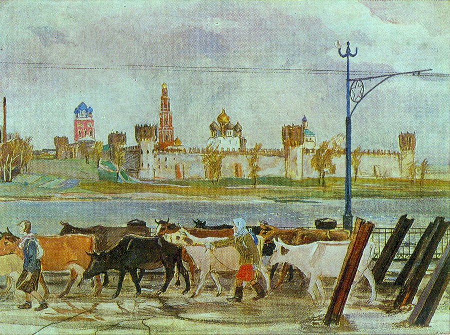 Александр Александрович Дейнека. Эвакуация колхозного стада