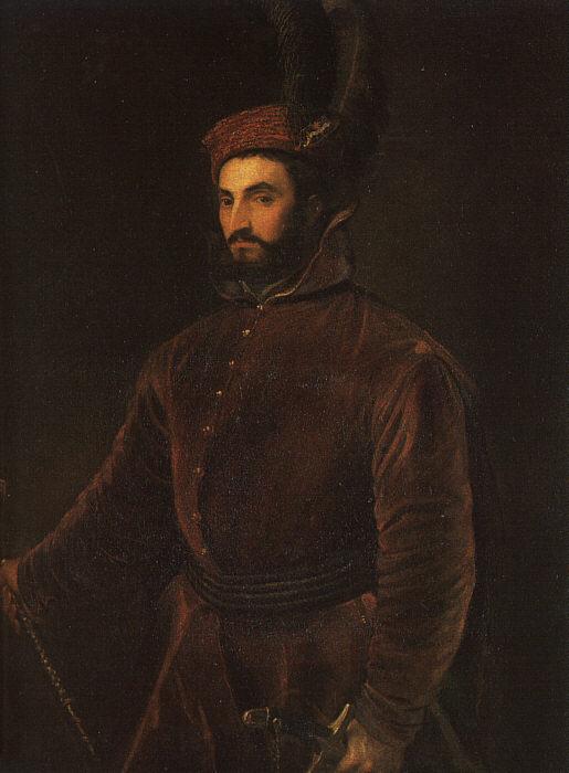 Titian Vecelli. Porter Ippolito di Medici in the Hungarian dress