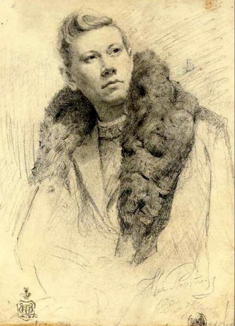 Ilya Efimovich Repin. Portrait of a young Chaliapin. Private collection.