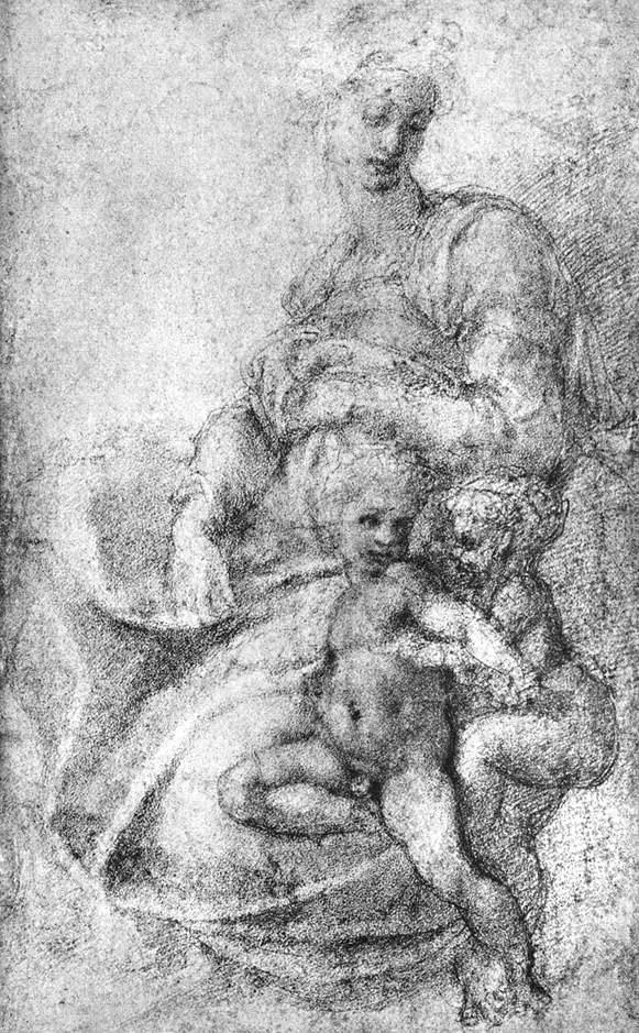Микеланджело Буонарроти. Мадонна с младенцем и Св. Джон