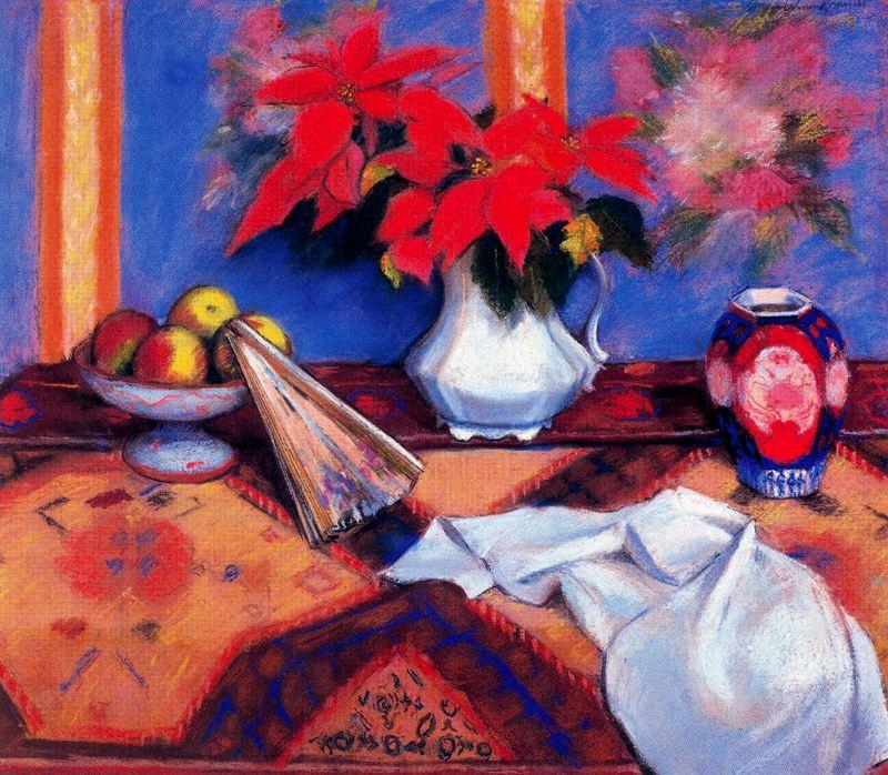 Уоррен Брандт. Красные цветы в белой вазе