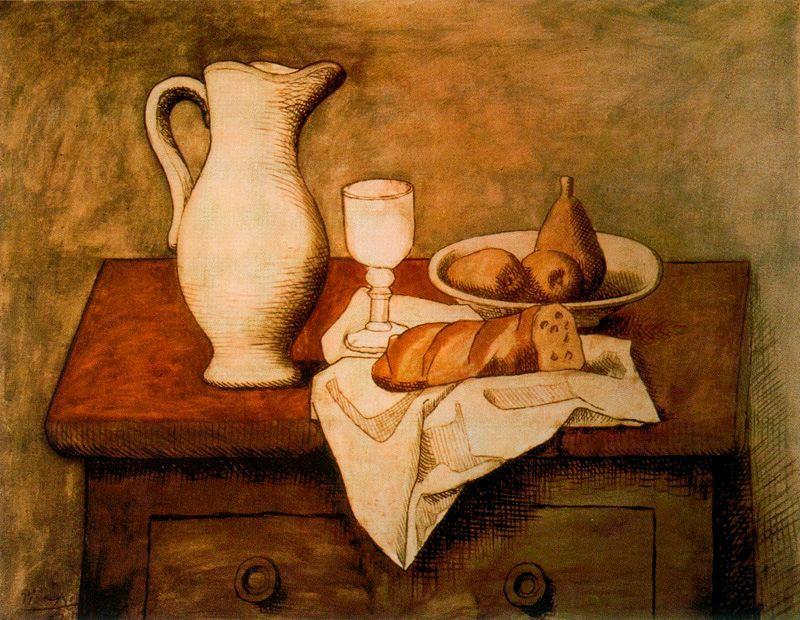 Пабло Пикассо. Натюрморт с кувшином и хлебом