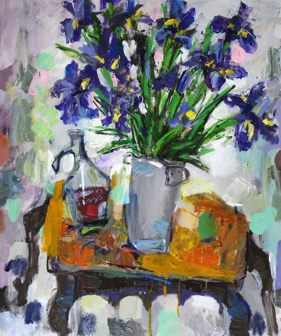 Ilya Pavlovich Spichenkov. Irises, carafe with compote and apple