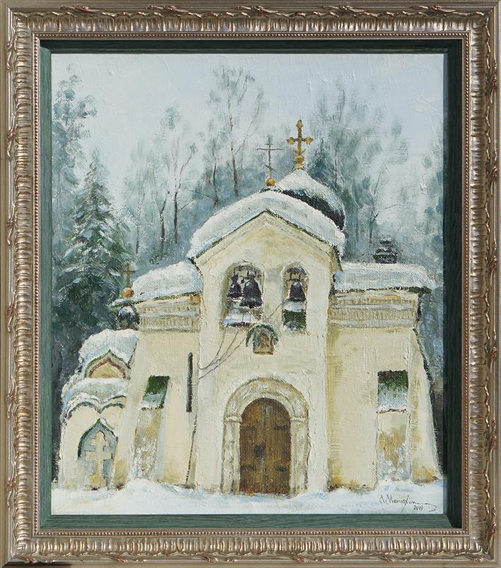Alexander Matyukhin. Church of the Savior Not Made by Hands. Abramtsevo (35.4x30.4 cm)