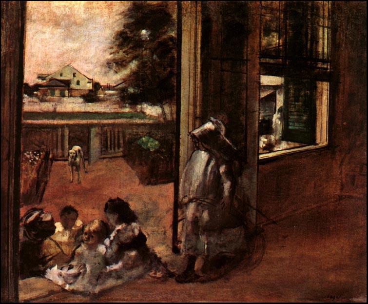 Эдгар Дега. Дети сидят в дверном проеме
