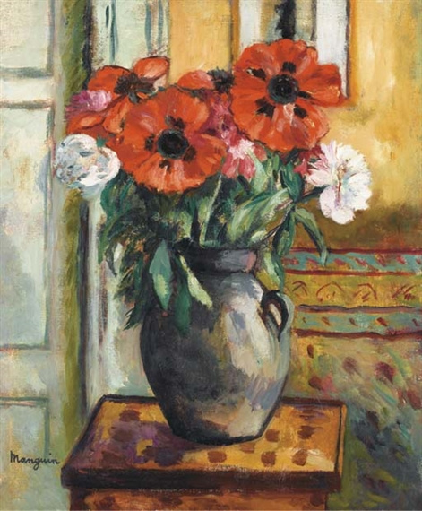 Henri Manguin. Poppies in a grey vase
