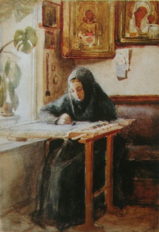 Николай Васильевич Неврев. За вышиванием. Спокойствие. 1880-е