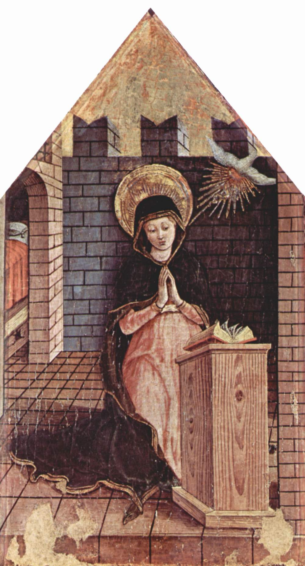 Carlo Crivelli. The Annunciation. The altar of the Church of San Silvestro at Massa Fermanagh, left pommel
