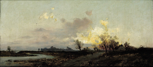 Emil Jacob Schindler. An extensive landscape in evening twilight