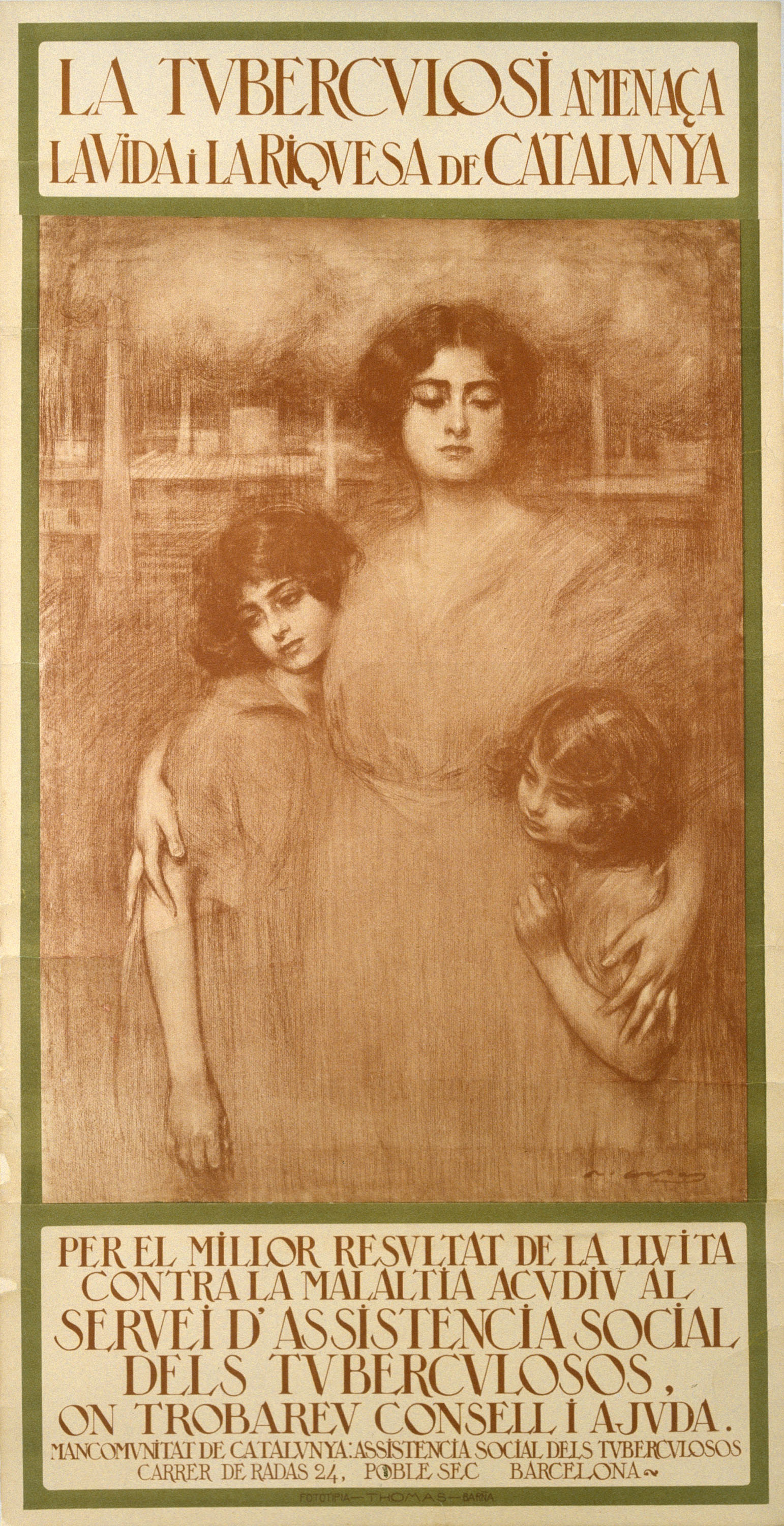 """Ramon Casas i Carbó. Poster """"Tuberculosis Threatens the Life and Wealth of Catalonia"""""""