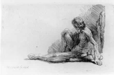 Рембрандт Ван Рейн. Обнаженный мужчина, сидящий на земле