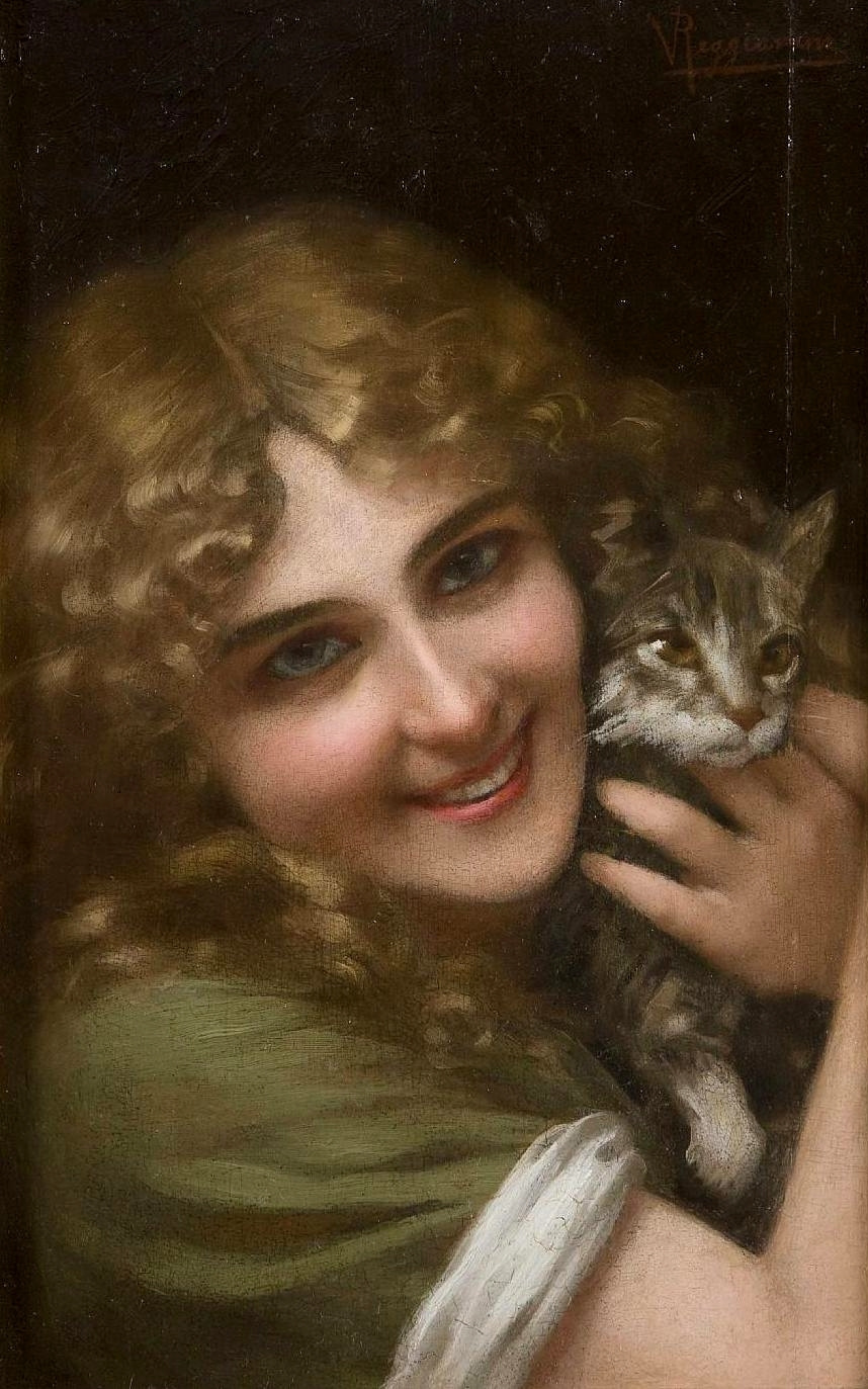 Vittorio Reggianini. The girl with the cat.