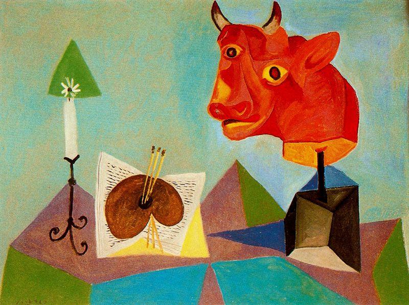 Пабло Пикассо. Свеча, палитра и голова красного быка