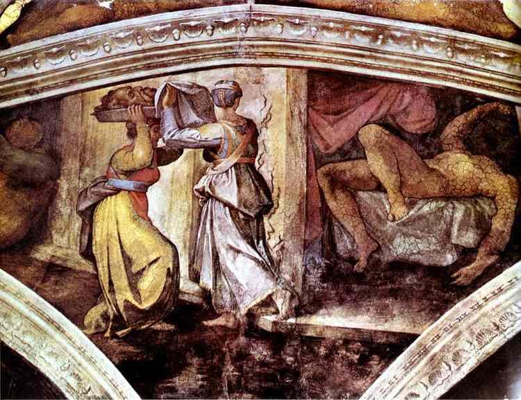 Микеланджело Буонарроти. Потолок Сикстинской капеллы. Юдифь и Олоферн..
