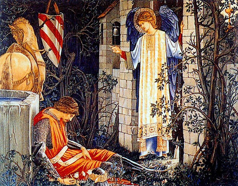 "William Morris.  Série ""La quête du Saint Graal"".  Sir Lancelot à la chapelle du Saint Graal (avec Edward Burne-Jones)"