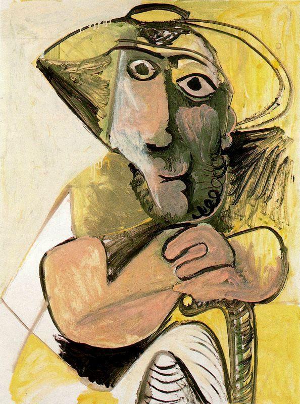 Пабло Пикассо. Сидящий человек с тростью