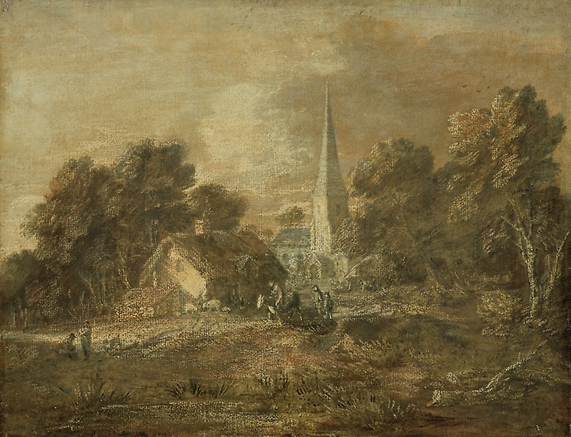 Thomas Gainsborough. Wooded landscape with village view