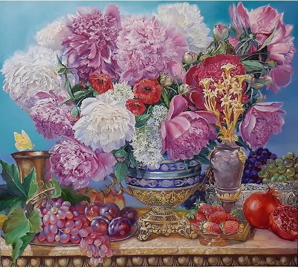 Evgeny Vladimirovich Terentyev. Peonies with fruits