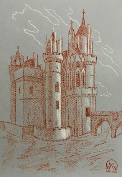 Larissa Lukaneva. Castle on the water. Sketch.