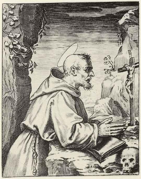 Агостино Карраччи. Святой Франциск, молящийся перед Распятием
