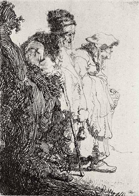 Рембрандт Харменс ван Рейн. Нищий и нищенка, идущие по дороге