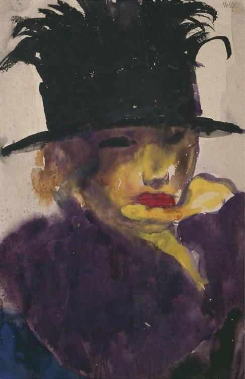 Эмиль Нольде. Портрет молодой женщины в шляпе