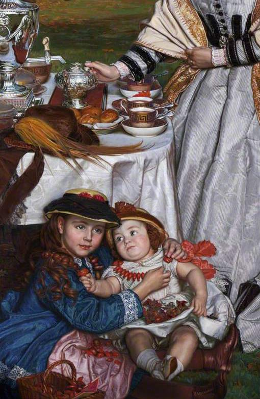 William Holman Hunt. A children's holiday. Fragment. Under the table