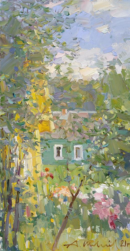 Alexander Shevelyov. Пейзаж с цветами. Д.В.П.,масло 16,8 х 31,5 см. 2021