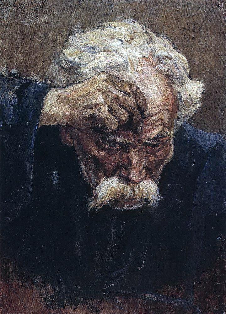 Василий Иванович Суриков. Голова крестящегося солдата