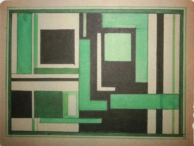 Nikolai Mikhailovich Suetin. Suprematist composition with a black and green