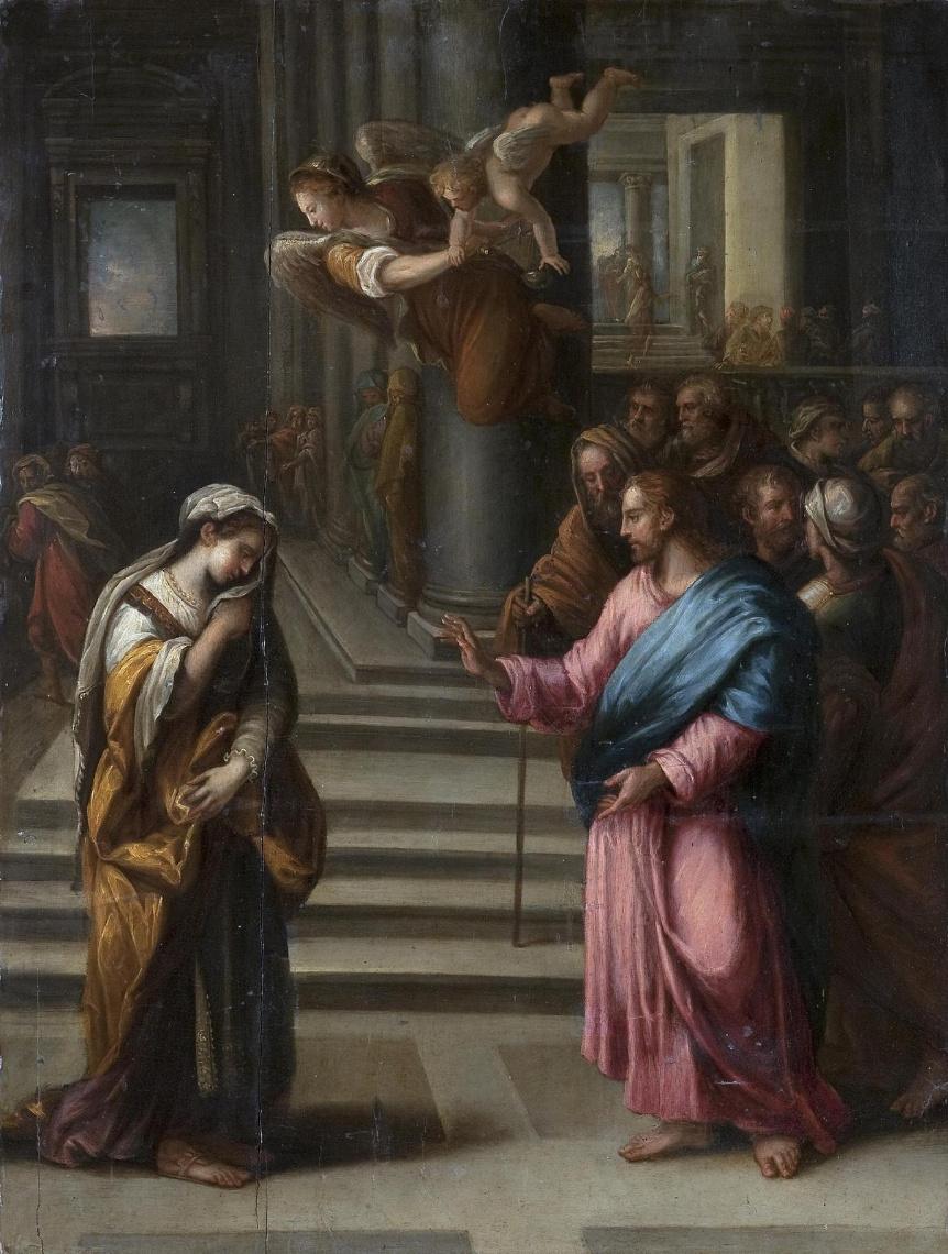 Alessandro Allori. Christ and the sinner. Sanki-Petersburg, Hermitage