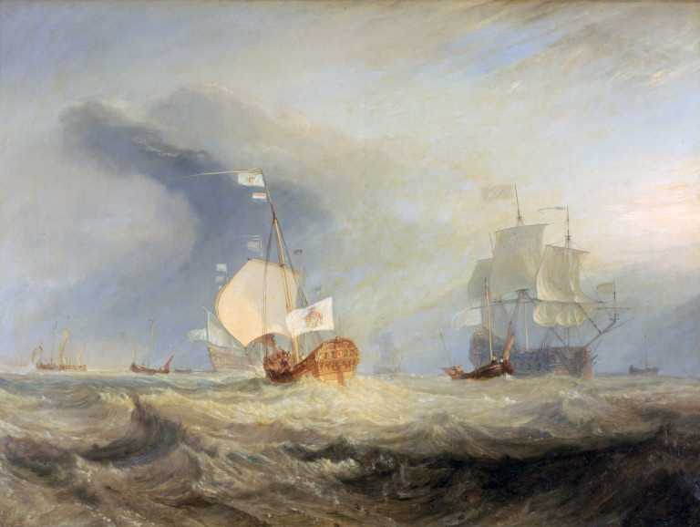 Joseph Mallord William Turner. The launch of the Admiral van Tromp at the entrance of the Texel, 1645