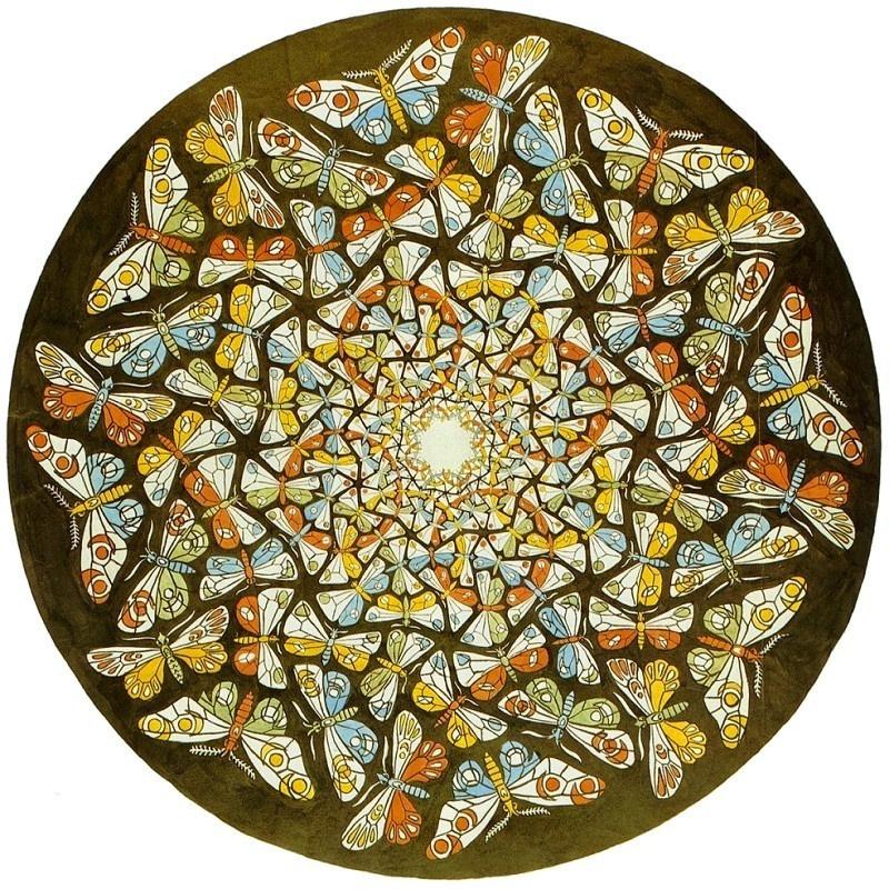 Maurits Cornelis Escher. Circle with butterflies