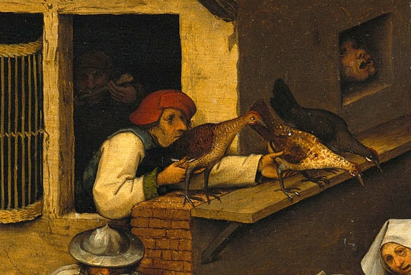 Pieter Bruegel The Elder. Flemish proverbs. Fragment: Chickens Feel - Premature Calculations