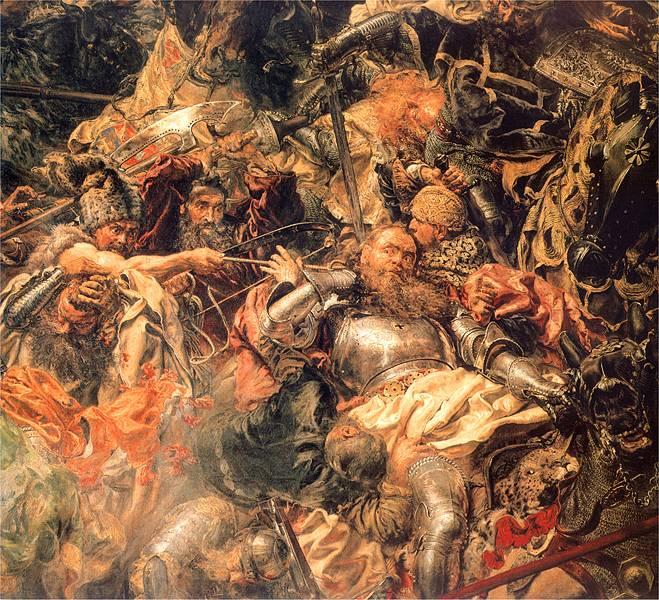 Ян Матейко. Битва при Грюнвальде. Фрагмент. Комтур Марквард фон Сальцбах и воин с арканом