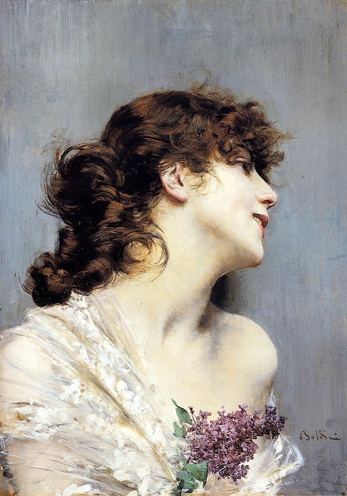 Джованни Больдини. Портрет девушки с веткой сирени