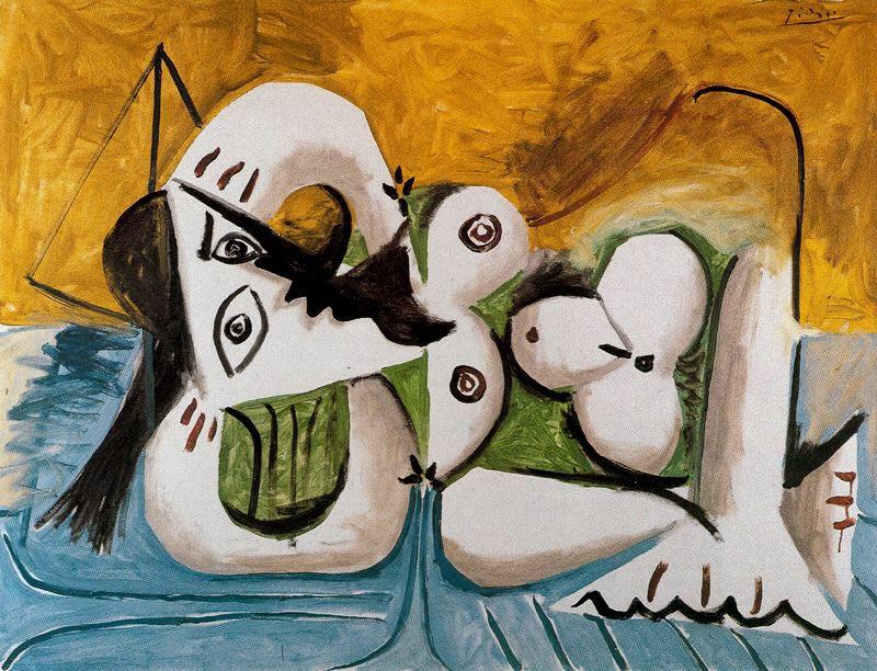 Пабло Пикассо. Лежащая обнаженная на синем диване