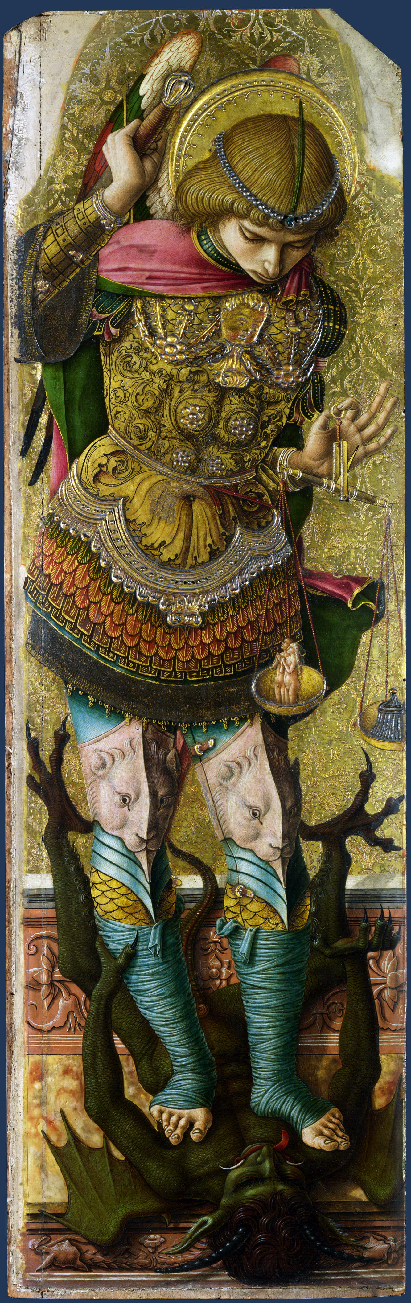 Carlo Crivelli. The Archangel Michael. Altarpiece of St. Peter Martyr, left wing, outer side