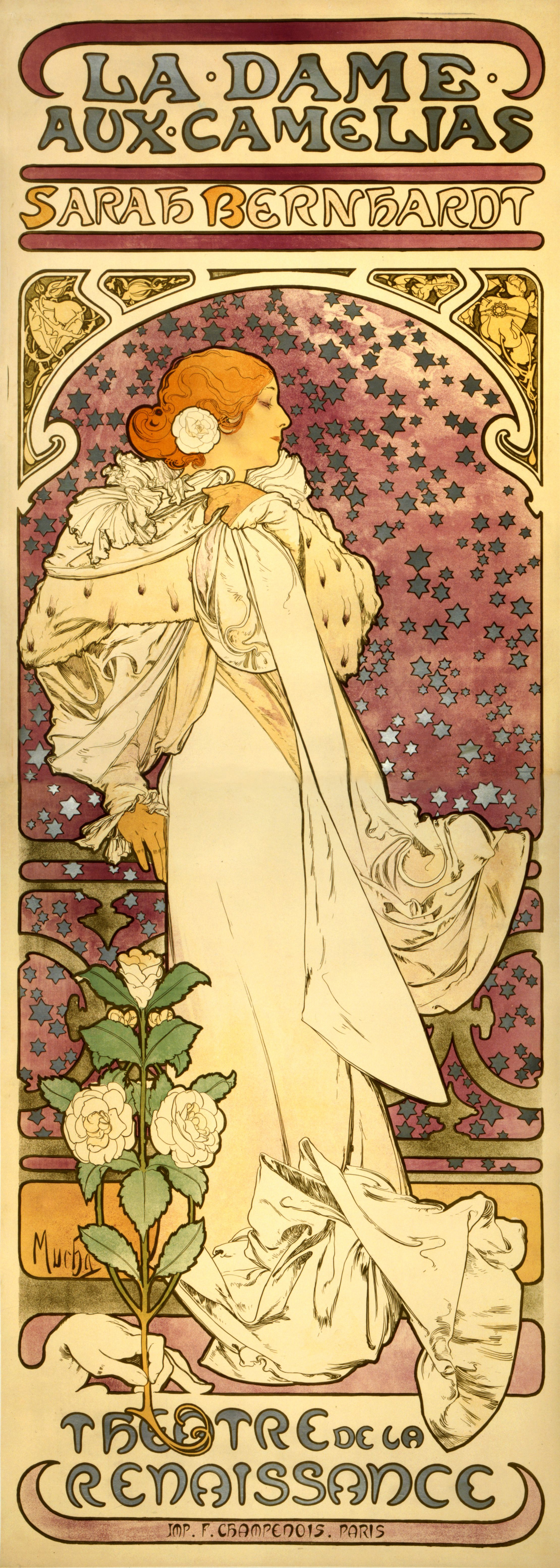 Alfonse Mucha. The lady of the camellias. Promotional poster for Sarah Bernhardt