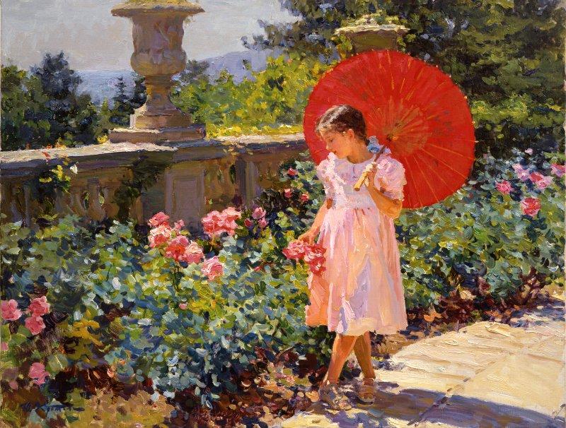 Yuri Krotov. Girl with a red umbrella.