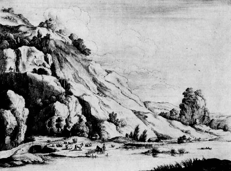 Венцель Холлар. Горный пейзаж с каменным мостом