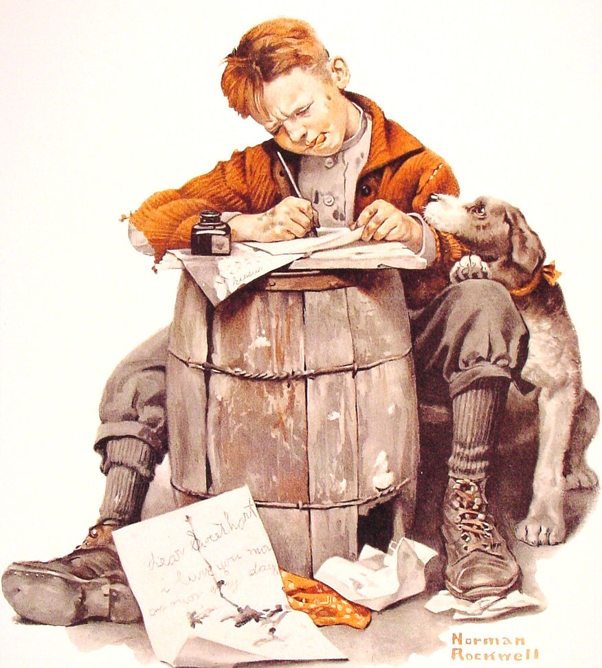 Norman Rockwell. A little boy writes a letter