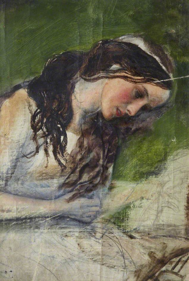 """Arthur Hughes. Portrait of a girl. Sketch for the painting """"Ruthless Beauty"""""""